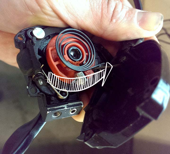 Reassemble--make sure all the cable is pulled through the housing