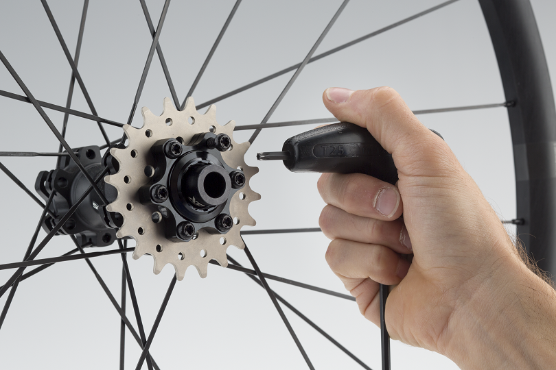 5. Extra-long disc rotor bolts hold the assembly together