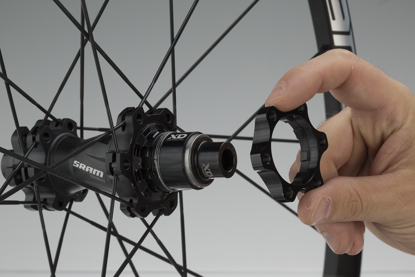 1. A beefy, CNC-machined holder mates nicely to the SRAM XD splines. It's a 6-bolt disc pattern.